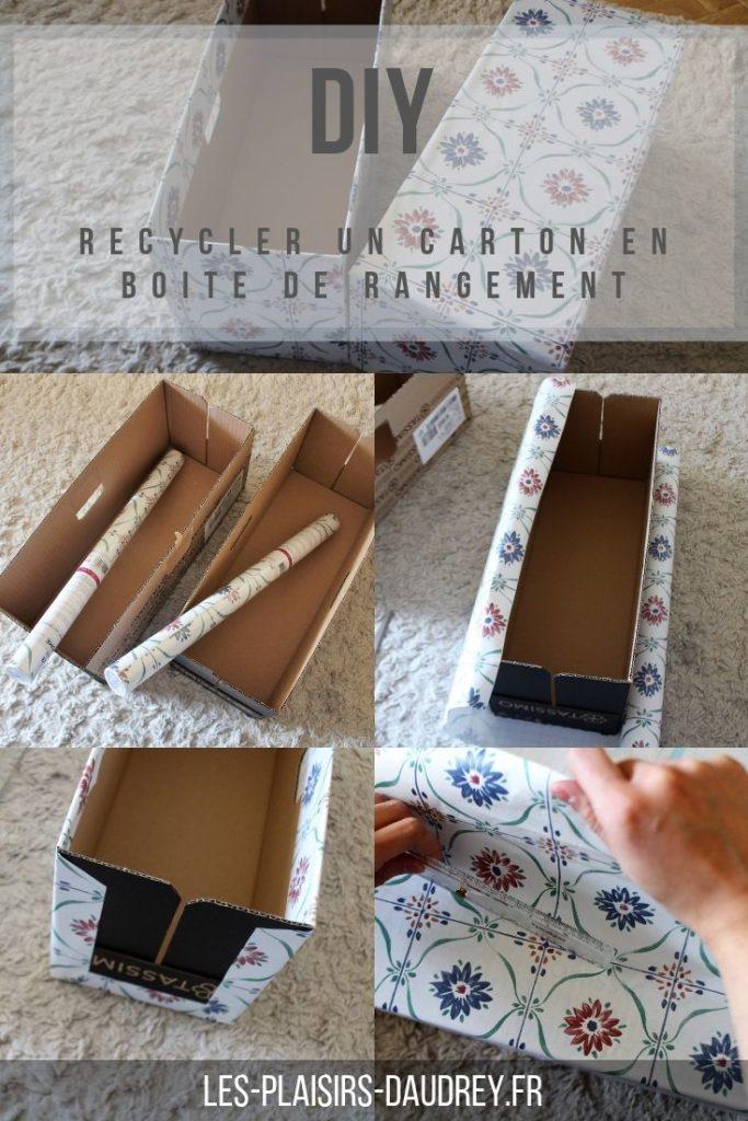 Recycler une boite en carton en boite de rangement